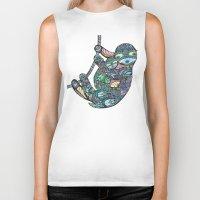 sloths Biker Tanks featuring Sleepy Sloths by LindseyRossInk