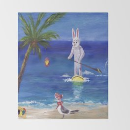 Easter Bunny at the Beach Throw Blanket