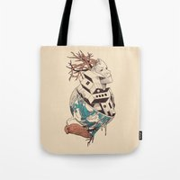 lost Tote Bags featuring Lost by Norman Duenas