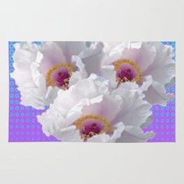 LILAC-PURPLE-BLUE  WHITE TREE PEONY FLOWERS ART Rug