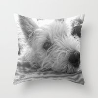 westie Throw Pillows featuring Westie puppy by  Alexia Miles photography