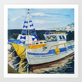 Boats in Greece Art Print