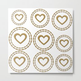 Cute Gold Hearts Pattern Metal Print