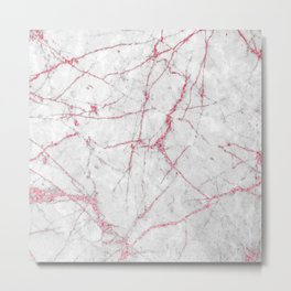 Pink Gold Glitter and Marble Metal Print
