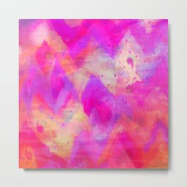 BOLD QUOTATION, Revisited - Intense Raspberry Peachy Pink Vibrant Abstract Watercolor Ikat Pattern Metal Print