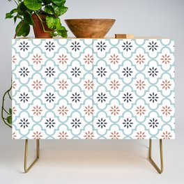 Red & Blue Mute Lattice Credenza