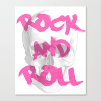 rock and roll Canvas Prints featuring Rock & Roll  by Pretty Little Things