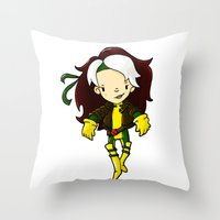 rogue Throw Pillows featuring ROGUE by Space Bat designs