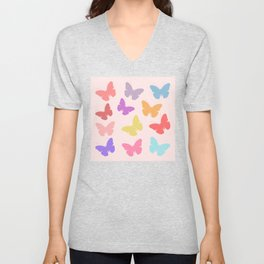 Multicoloured Butterflies on Pink Unisex V-Neck