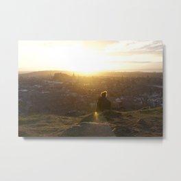 Salisbury Crags overlooking Edinburgh at sunset 1 Metal Print