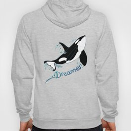 Dreamer Orca (Amber Marine, Indie Wildlife Artist Official Logo, Copyright 2015) Killer Whale Art Hoody