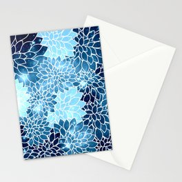 Space Dahlias Blue Ice Stationery Cards