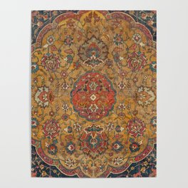 Persian Medallion Rug VI // 16th Century Distressed Red Green Blue Flowery Colorful Ornate Pattern Poster