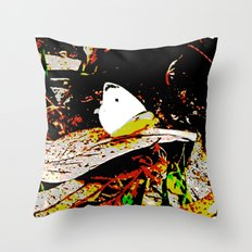 Cabbage White Butterfly Comics Throw Pillow