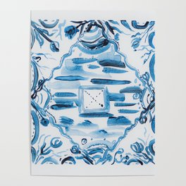 Azulejos Portugal, hand painted ceramic tiles Poster