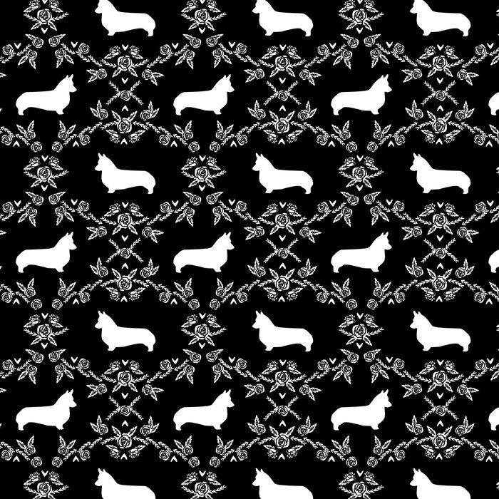 Corgi silhouette florals dog pattern black and white minimal corgis welsh corgi pattern Leggings