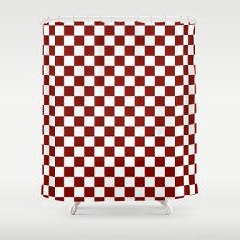 Vintage New England Shaker Barn Red and White Milk Paint Jumbo Square Checker Pattern Shower Curtain