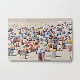 Beachgoers at the Island of Borkum, Germany Metal Print