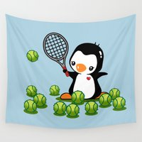 tennis Wall Tapestries featuring Tennis Penguin by joanfriends