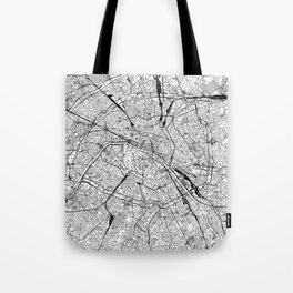 Paris White Map Tote Bag