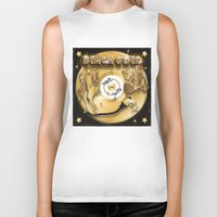 black and gold Biker Tanks featuring Black Gold by Nikola Kolobaric