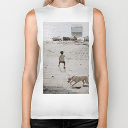 A boy and a dog Biker Tank