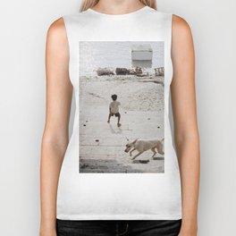 A boy and a dog Biker Tank