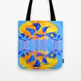 BLUE CALLA LILIES & MOON WATER GARDEN  REFLECTION Tote Bag
