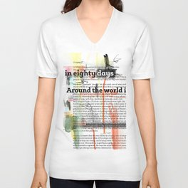 Around the world in eighty days - chapter 2 - text offered are in public domain  Unisex V-Neck