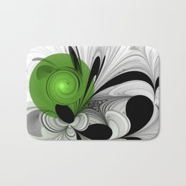 Abstract Black and White with Green Bath Mat