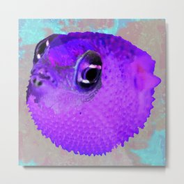 Pucker Up Purple Pufferfish Metal Print