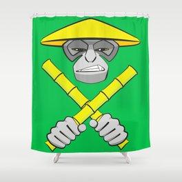 Gibbon Warrior Bamboo Shower Curtain
