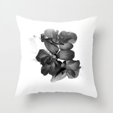 Black Geranium in White Throw Pillow