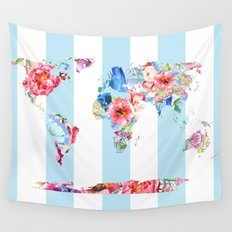 Floral World Stripe Wall Tapestry