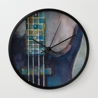 bass Wall Clocks featuring Ed's Bass by Dorrie Rifkin Watercolors