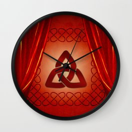 Wonderful celtic knot in red colors Wall Clock