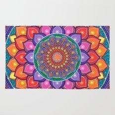 Lotus Rainbow Mandala Rug