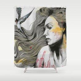 Monument (long hair girl with bird and skyline tattoo) Shower Curtain