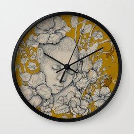 """Guardians"" - Surreal Floral Portrait Illustration Wall Clock"