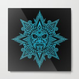 Ancient Blue and Black Aztec Sun Mask Metal Print