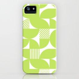 Lime Green Mid Century Bauhaus Semi Circle Pattern iPhone Case