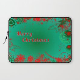Merry Christmas in Green and Red Laptop Sleeve