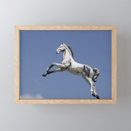 Escaped carousel horse Framed Mini Art Print