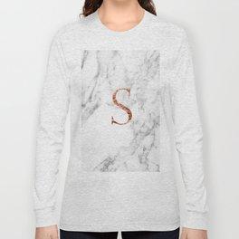 Monogram rose gold marble S Long Sleeve T-shirt