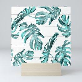 Turquoise Palm Leaves on White Wood Mini Art Print