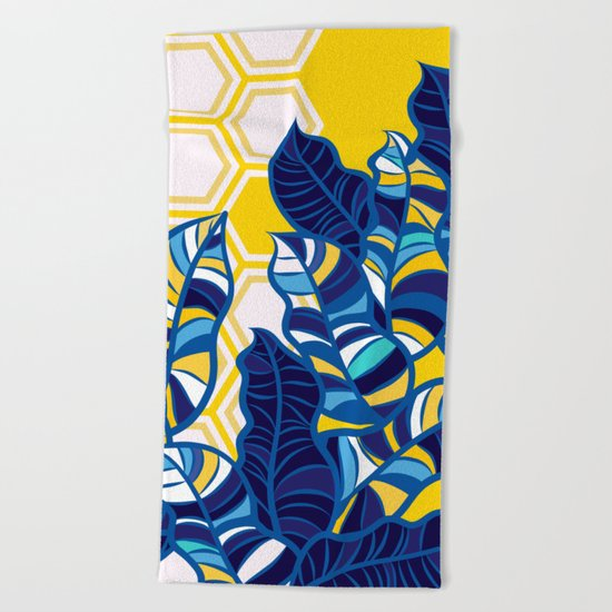 Geo Pop Foliage on Yellow & White Beach Towel