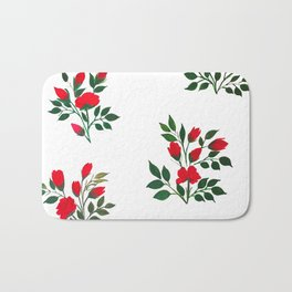 Red Roese ith buds floral Art Bath Mat