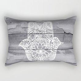 White hand drawn Hamsa hand of fatima on wood  Rectangular Pillow