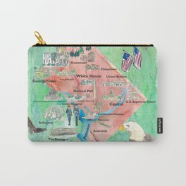 Washington DC USA Illustrated Travel Poster Favorite Map Tourist Highlights Carry-All Pouch