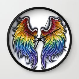 Rainbow Wings Wall Clock